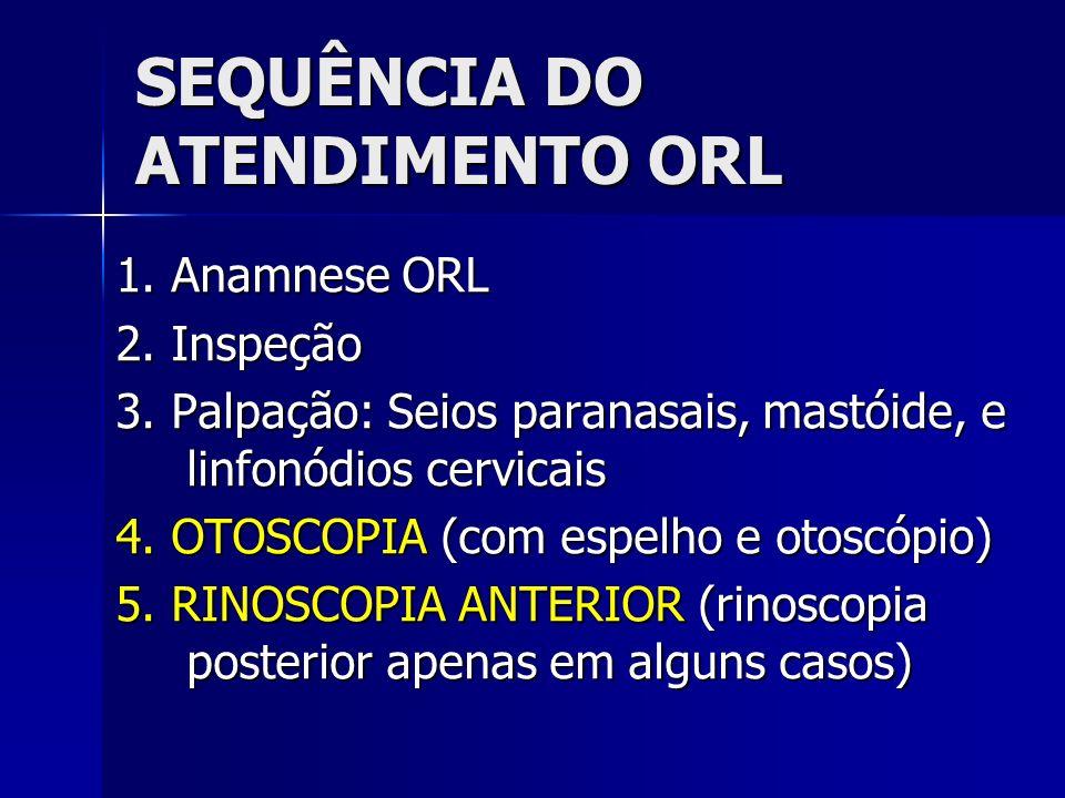 SEQUÊNCIA DO ATENDIMENTO ORL 1.Anamnese ORL 2. Inspeção 3.