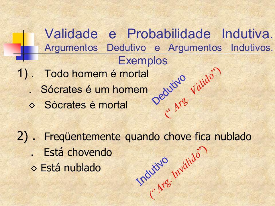 Validade e Probabilidade Indutiva. Argumentos Dedutivo e Argumentos Indutivos. Exemplos 1).Todo homem é mortal. Sócrates é um homem Sócrates é mortal