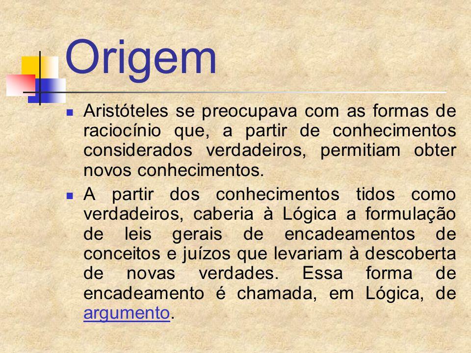 Origem Aristóteles se preocupava com as formas de raciocínio que, a partir de conhecimentos considerados verdadeiros, permitiam obter novos conhecimen