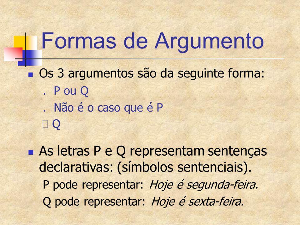 Formas de Argumento Os 3 argumentos são da seguinte forma:. P ou Q. Não é o caso que é P Q As letras P e Q representam sentenças declarativas: (símbol