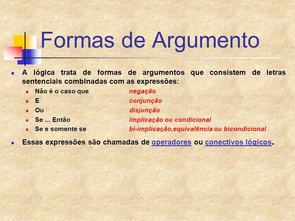 Formas de Argumento A lógica trata de formas de argumentos que consistem de letras sentenciais combinadas com as expressões: Não é o caso que negação