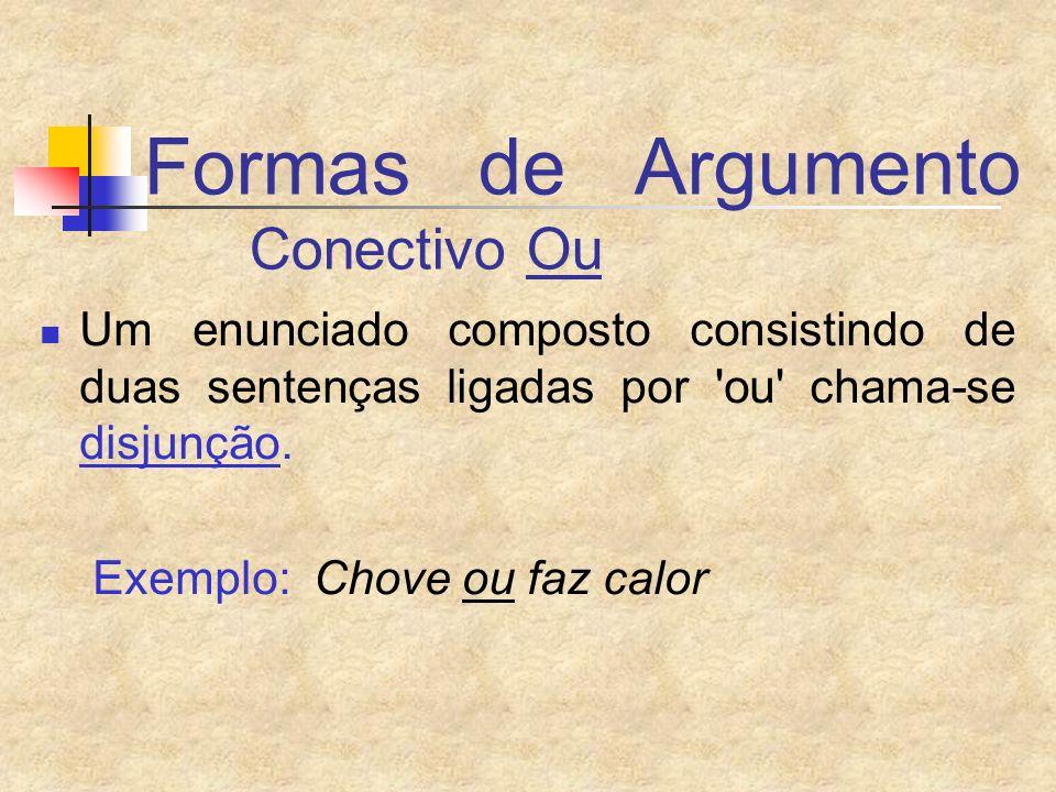 Formas de Argumento Conectivo Ou Um enunciado composto consistindo de duas sentenças ligadas por 'ou' chama-se disjunção. Exemplo: Chove ou faz calor