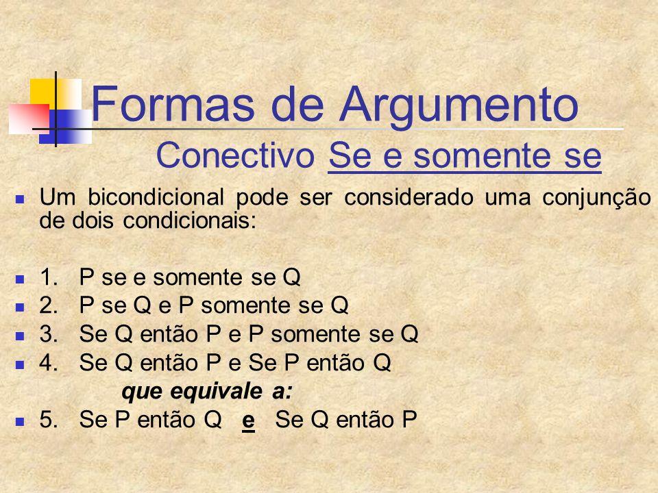 Formas de Argumento Conectivo Se e somente se Um bicondicional pode ser considerado uma conjunção de dois condicionais: 1. P se e somente se Q 2. P se