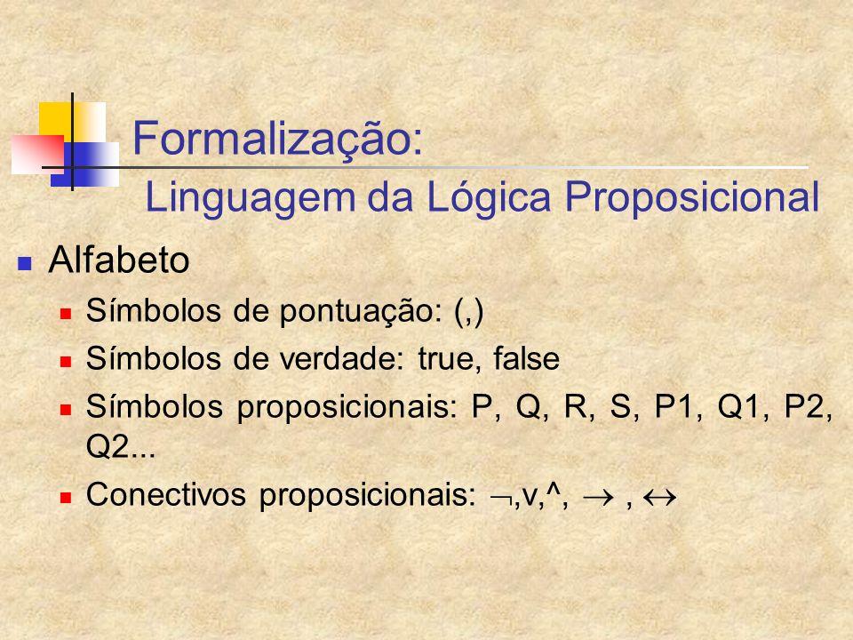Formalização: Linguagem da Lógica Proposicional Alfabeto Símbolos de pontuação: (,) Símbolos de verdade: true, false Símbolos proposicionais: P, Q, R,