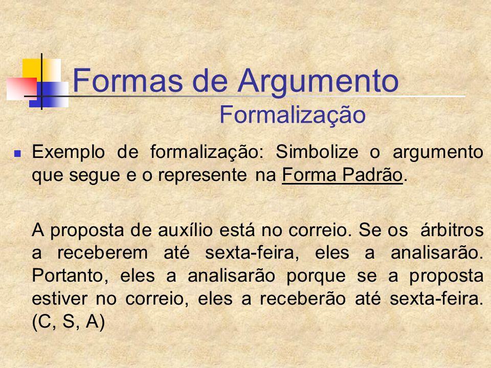 Formas de Argumento Formalização Exemplo de formalização: Simbolize o argumento que segue e o represente na Forma Padrão. A proposta de auxílio está n