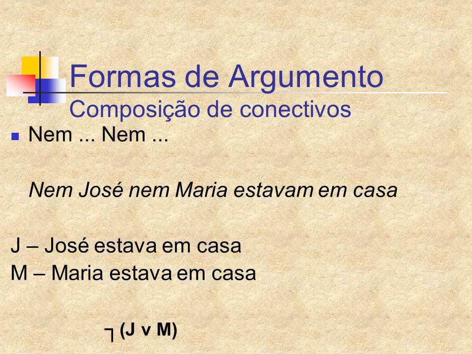 Formas de Argumento Composição de conectivos Nem... Nem... Nem José nem Maria estavam em casa J – José estava em casa M – Maria estava em casa (J v M)