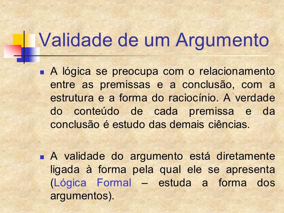 Validade de um Argumento A lógica se preocupa com o relacionamento entre as premissas e a conclusão, com a estrutura e a forma do raciocínio. A verdad