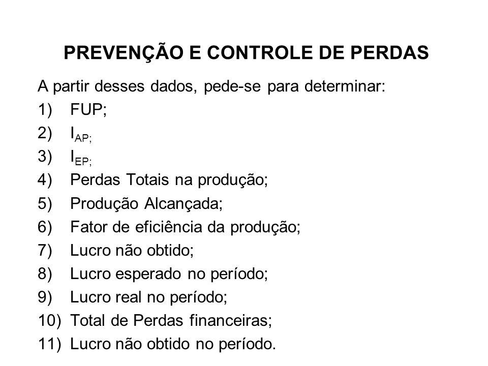 PREVENÇÃO E CONTROLE DE PERDAS A partir desses dados, pede-se para determinar: 1)FUP; 2)I AP; 3)I EP; 4)Perdas Totais na produção; 5)Produção Alcançad
