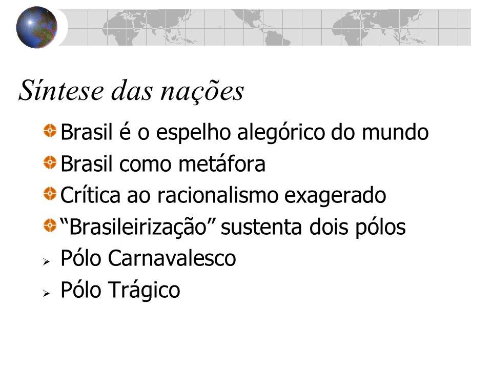 Síntese das nações Brasil é o espelho alegórico do mundo Brasil como metáfora Crítica ao racionalismo exagerado Brasileirização sustenta dois pólos Pó