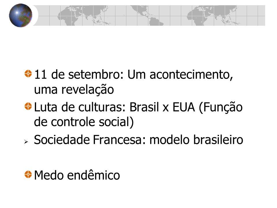 11 de setembro: Um acontecimento, uma revelação Luta de culturas: Brasil x EUA (Função de controle social) Sociedade Francesa: modelo brasileiro Medo