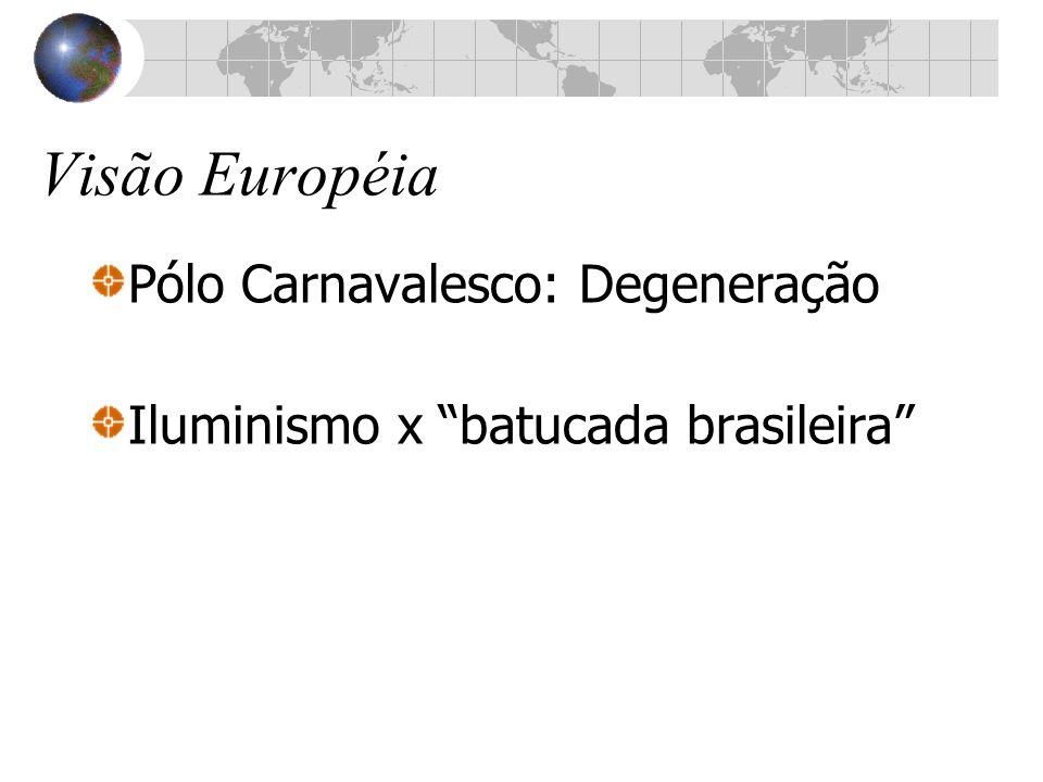 Visão Européia Pólo Carnavalesco: Degeneração Iluminismo x batucada brasileira