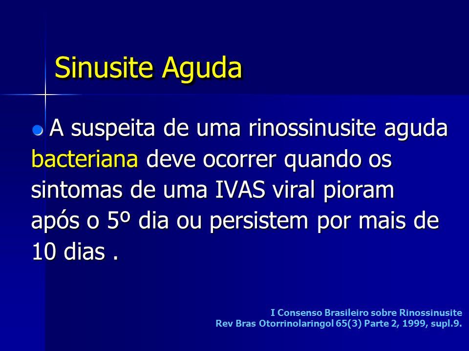 A suspeita de uma rinossinusite aguda bacteriana deve ocorrer quando os sintomas de uma IVAS viral pioram após o 5º dia ou persistem por mais de 10 di