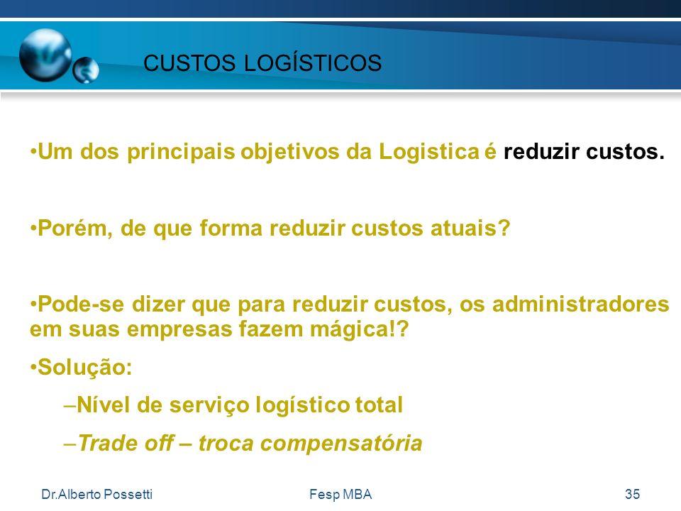Dr.Alberto PossettiFesp MBA35 Um dos principais objetivos da Logistica é reduzir custos. Porém, de que forma reduzir custos atuais? Pode-se dizer que