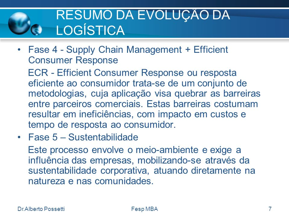 Dr.Alberto PossettiFesp MBA7 RESUMO DA EVOLUÇÃO DA LOGÍSTICA Fase 4 - Supply Chain Management + Efficient Consumer Response ECR - Efficient Consumer R