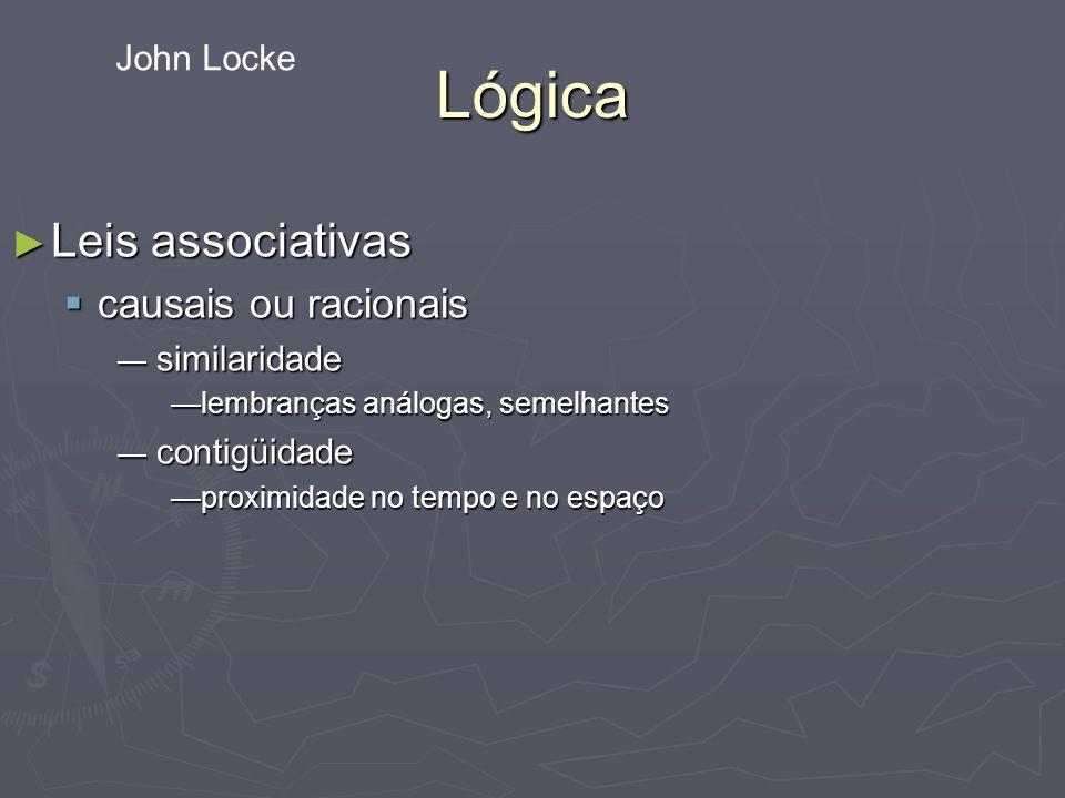 Lógica Leis associativas Leis associativas causais ou racionais causais ou racionais similaridade similaridade lembranças análogas, semelhanteslembranças análogas, semelhantes contigüidade contigüidade proximidade no tempo e no espaçoproximidade no tempo e no espaço John Locke