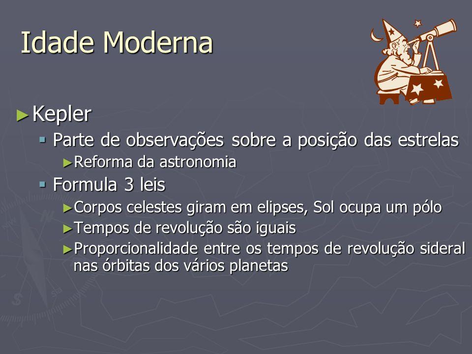 Idade Moderna Kepler Kepler Parte de observações sobre a posição das estrelas Parte de observações sobre a posição das estrelas Reforma da astronomia Reforma da astronomia Formula 3 leis Formula 3 leis Corpos celestes giram em elipses, Sol ocupa um pólo Corpos celestes giram em elipses, Sol ocupa um pólo Tempos de revolução são iguais Tempos de revolução são iguais Proporcionalidade entre os tempos de revolução sideral nas órbitas dos vários planetas Proporcionalidade entre os tempos de revolução sideral nas órbitas dos vários planetas