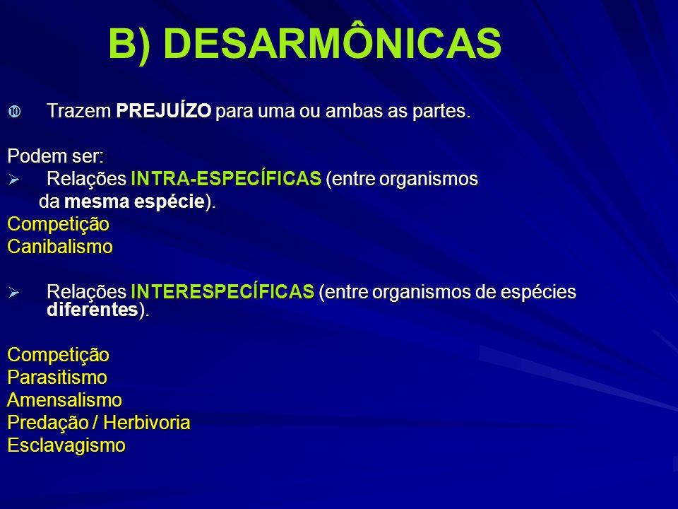 B) DESARMÔNICAS Trazem PREJUÍZO para uma ou ambas as partes. Trazem PREJUÍZO para uma ou ambas as partes. Podem ser: Relações INTRA-ESPECÍFICAS (entre