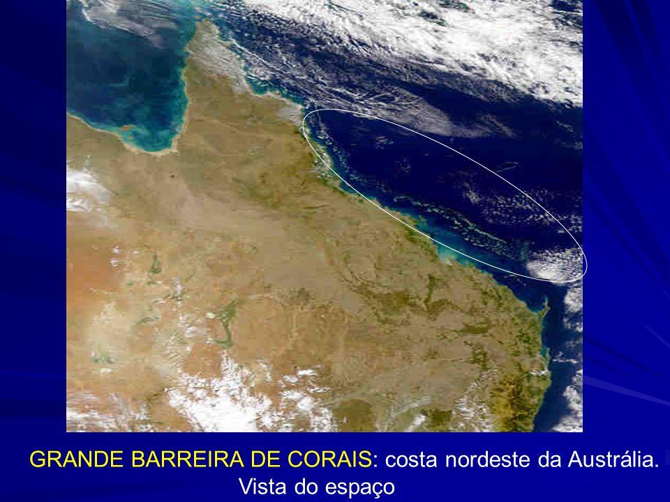 GRANDE BARREIRA DE CORAIS: costa nordeste da Austrália. Vista do espaço