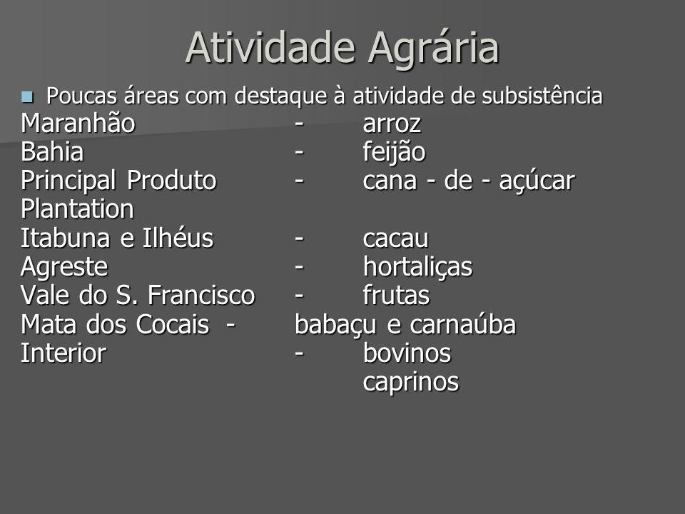 Atividade Agrária Poucas áreas com destaque à atividade de subsistência Poucas áreas com destaque à atividade de subsistência Maranhão-arroz Bahia-fei