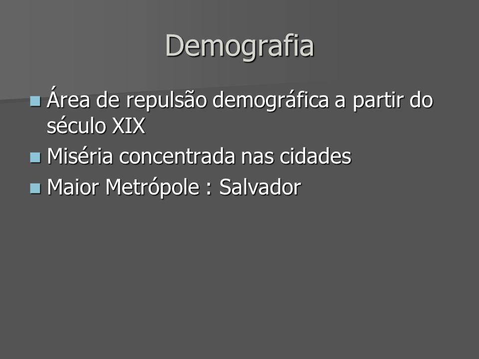Demografia Área de repulsão demográfica a partir do século XIX Área de repulsão demográfica a partir do século XIX Miséria concentrada nas cidades Mis