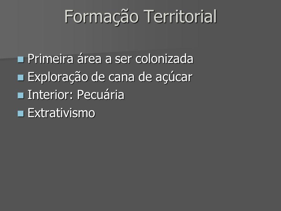 Formação Territorial Primeira área a ser colonizada Primeira área a ser colonizada Exploração de cana de açúcar Exploração de cana de açúcar Interior: