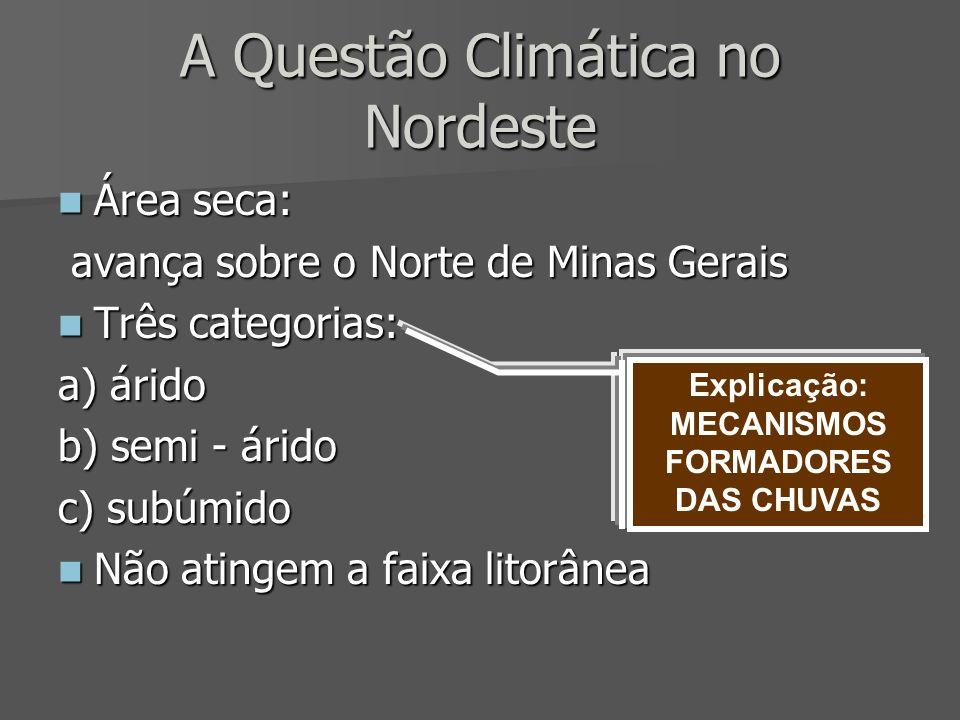 A Questão Climática no Nordeste Área seca: Área seca: avança sobre o Norte de Minas Gerais avança sobre o Norte de Minas Gerais Três categorias: Três