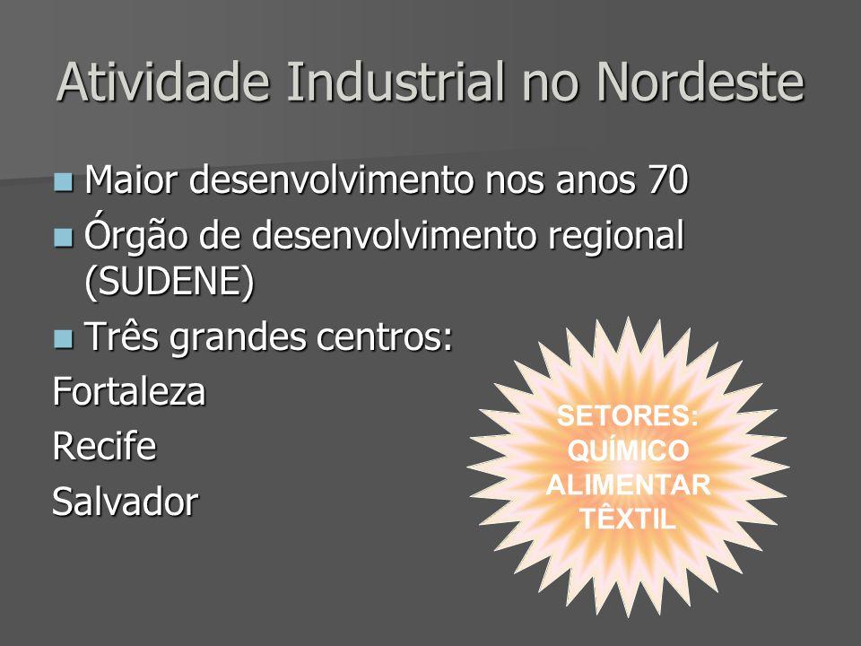 Atividade Industrial no Nordeste Maior desenvolvimento nos anos 70 Maior desenvolvimento nos anos 70 Órgão de desenvolvimento regional (SUDENE) Órgão