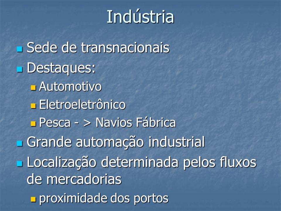 Indústria Sede de transnacionais Sede de transnacionais Destaques: Destaques: Automotivo Automotivo Eletroeletrônico Eletroeletrônico Pesca - > Navios