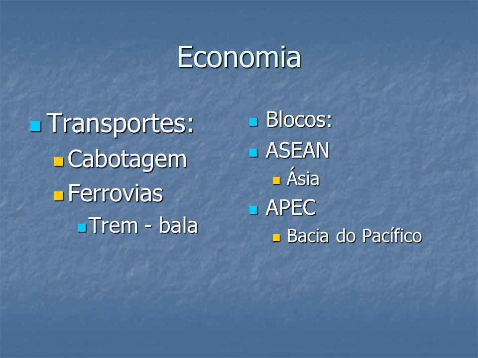 Economia Transportes: Transportes: Cabotagem Cabotagem Ferrovias Ferrovias Trem - bala Trem - bala Blocos: Blocos: ASEAN ASEAN Ásia APEC APEC Bacia do