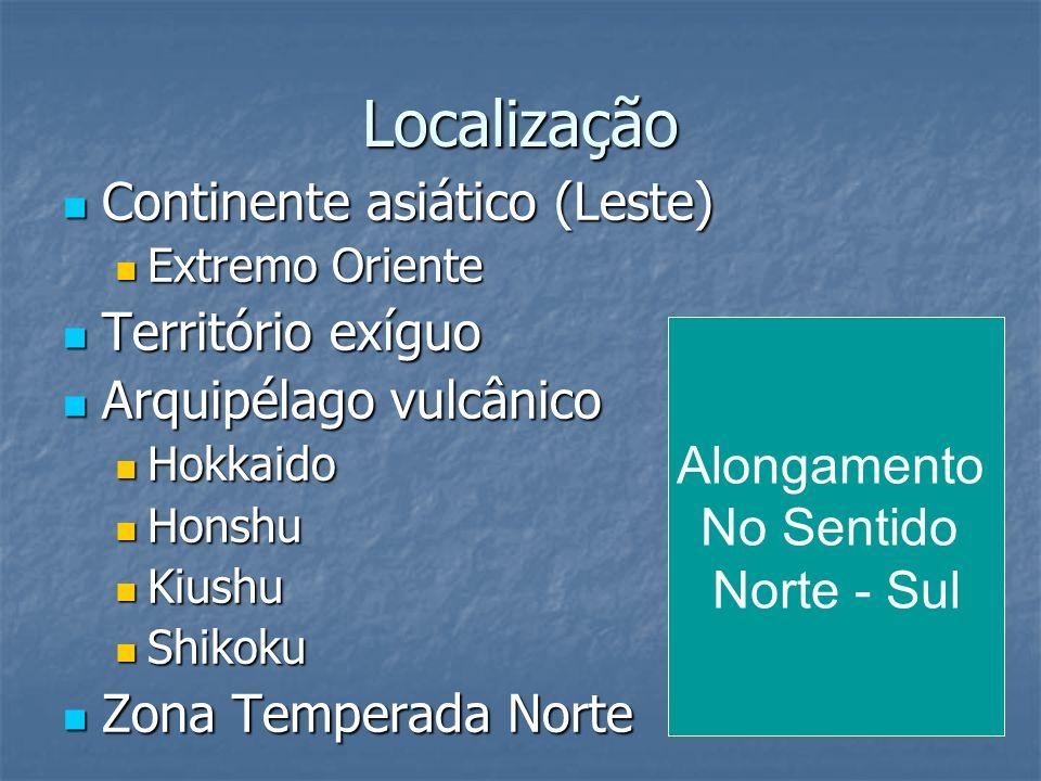 Localização Continente asiático (Leste) Continente asiático (Leste) Extremo Oriente Extremo Oriente Território exíguo Território exíguo Arquipélago vu