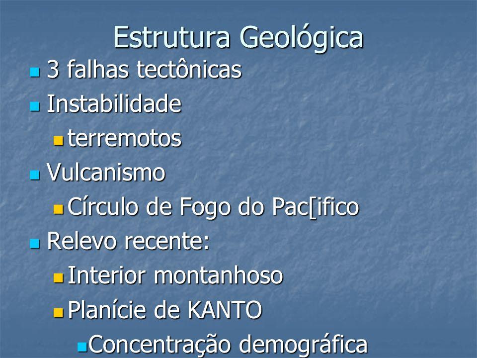 Estrutura Geológica 3 falhas tectônicas 3 falhas tectônicas Instabilidade Instabilidade terremotos terremotos Vulcanismo Vulcanismo Círculo de Fogo do