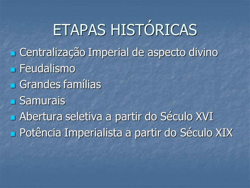ETAPAS HISTÓRICAS Centralização Imperial de aspecto divino Centralização Imperial de aspecto divino Feudalismo Feudalismo Grandes famílias Grandes fam