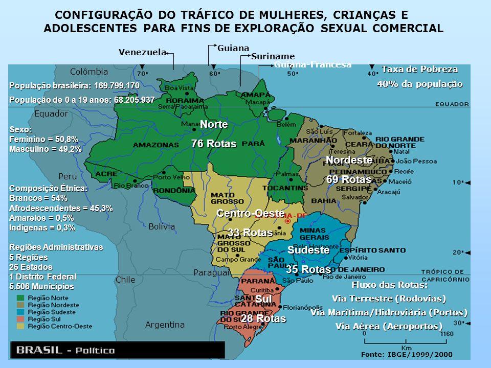 Guiana Suriname Guiana-Francesa Venezuela Norte 76 Rotas Centro-Oeste 33 Rotas Nordeste 69 Rotas Sudeste 35 Rotas Sul 28 Rotas Colômbia Equador Peru B