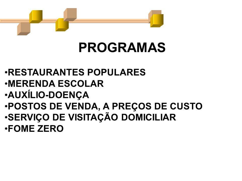PROGRAMAS RESTAURANTES POPULARES MERENDA ESCOLAR AUXÍLIO-DOENÇA POSTOS DE VENDA, A PREÇOS DE CUSTO SERVIÇO DE VISITAÇÃO DOMICILIAR FOME ZERO