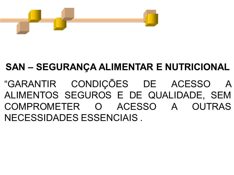 SAN – SEGURANÇA ALIMENTAR E NUTRICIONAL GARANTIR CONDIÇÕES DE ACESSO A ALIMENTOS SEGUROS E DE QUALIDADE, SEM COMPROMETER O ACESSO A OUTRAS NECESSIDADE