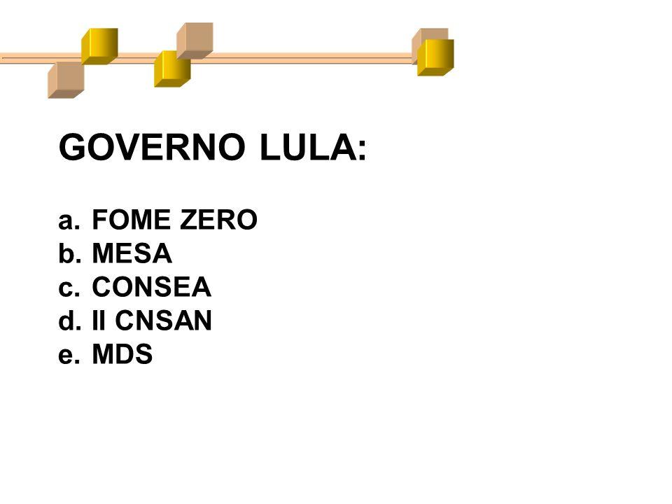 GOVERNO LULA: a.FOME ZERO b.MESA c.CONSEA d.II CNSAN e.MDS