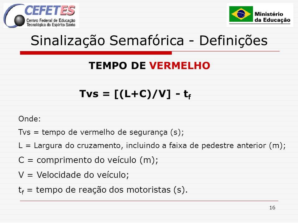 16 Sinalização Semafórica - Definições TEMPO DE VERMELHO Tvs = [(L+C)/V] - t f Onde: Tvs = tempo de vermelho de segurança (s); L = Largura do cruzamento, incluindo a faixa de pedestre anterior (m); C = comprimento do veículo (m); V = Velocidade do veículo; t f = tempo de reação dos motoristas (s).
