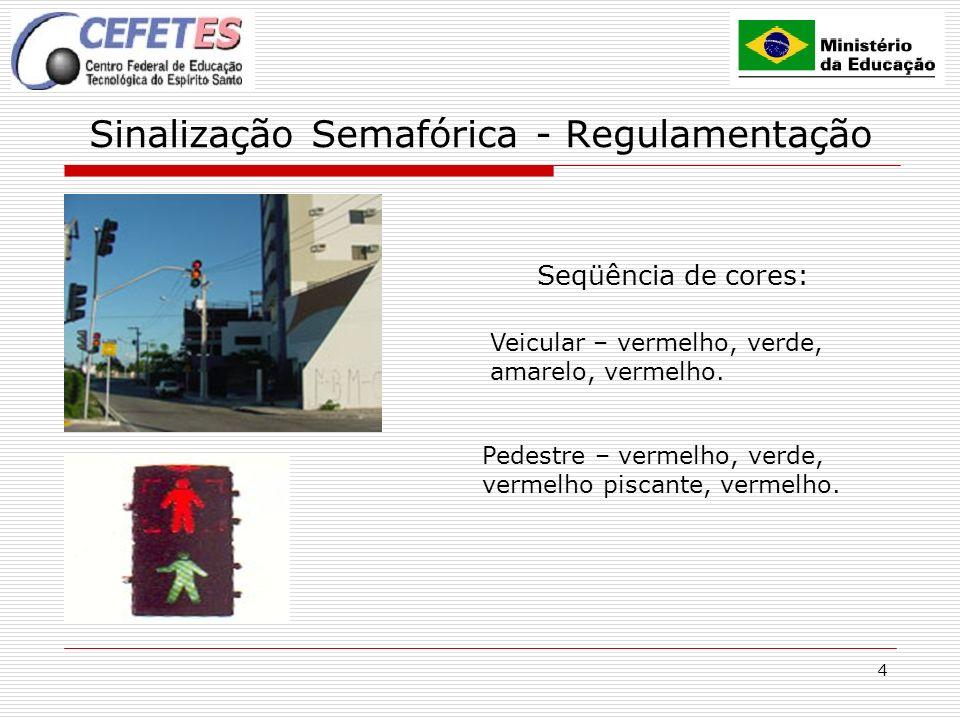 4 Sinalização Semafórica - Regulamentação Seqüência de cores: Pedestre – vermelho, verde, vermelho piscante, vermelho. Veicular – vermelho, verde, ama