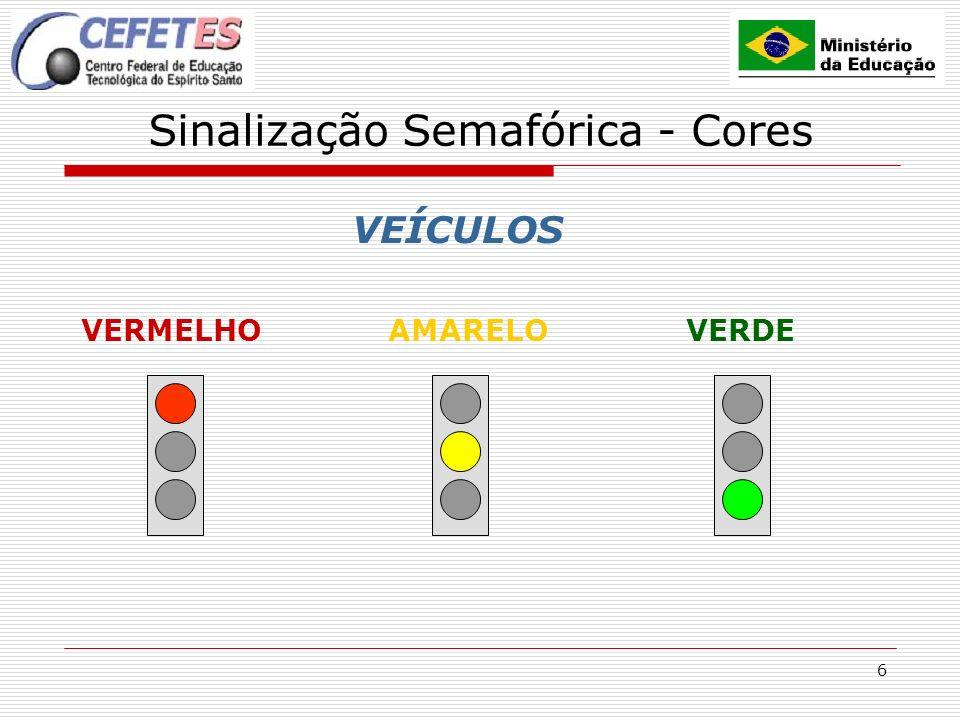 7 Sinalização Semafórica - Cores PEDESTRES VERMELHO INTERMITENTE VERDE VERMELHO