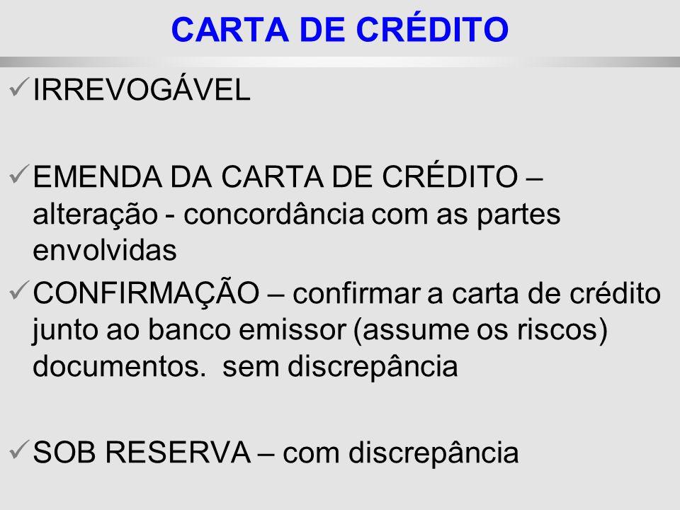 25/1/2014 IRREVOGÁVEL EMENDA DA CARTA DE CRÉDITO – alteração - concordância com as partes envolvidas CONFIRMAÇÃO – confirmar a carta de crédito junto