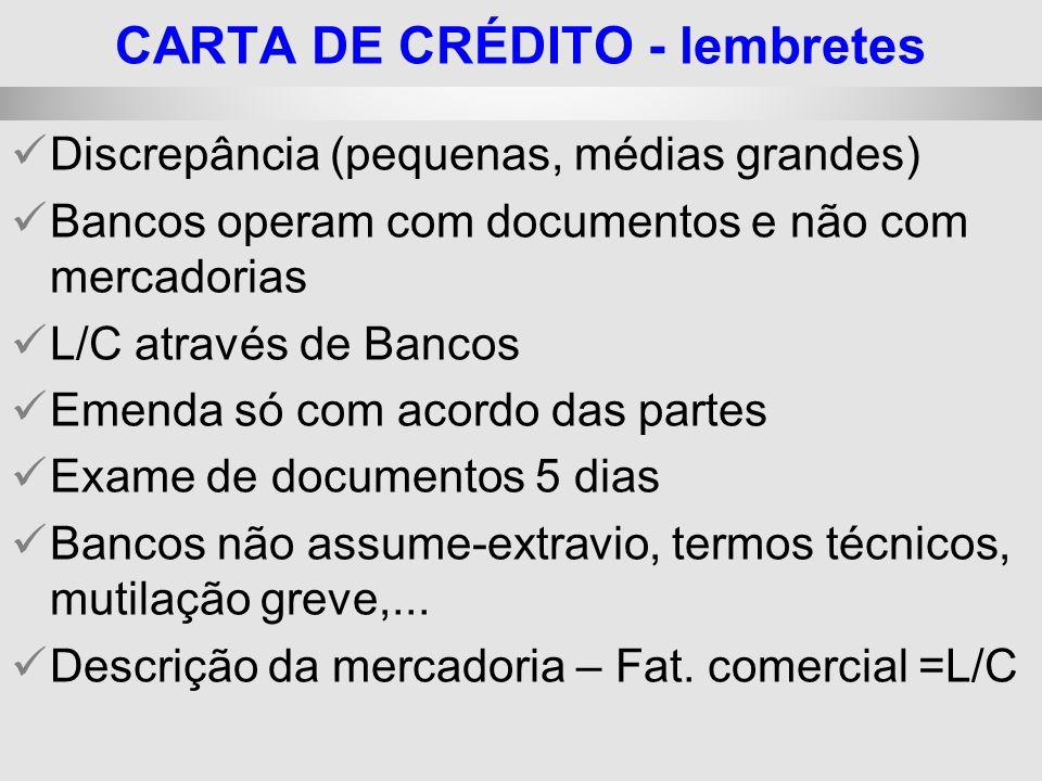 25/1/2014 Discrepância (pequenas, médias grandes) Bancos operam com documentos e não com mercadorias L/C através de Bancos Emenda só com acordo das pa