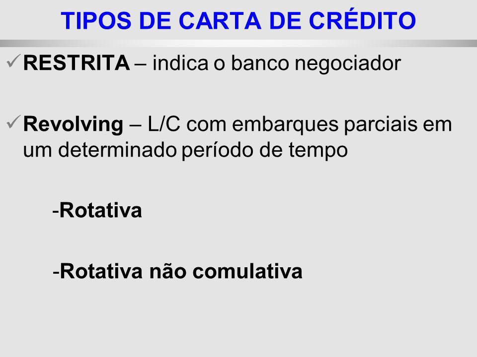 25/1/2014 RESTRITA – indica o banco negociador Revolving – L/C com embarques parciais em um determinado período de tempo -Rotativa -Rotativa não comul