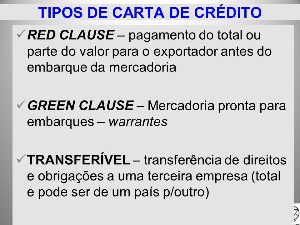 25/1/2014 RED CLAUSE – pagamento do total ou parte do valor para o exportador antes do embarque da mercadoria GREEN CLAUSE – Mercadoria pronta para em