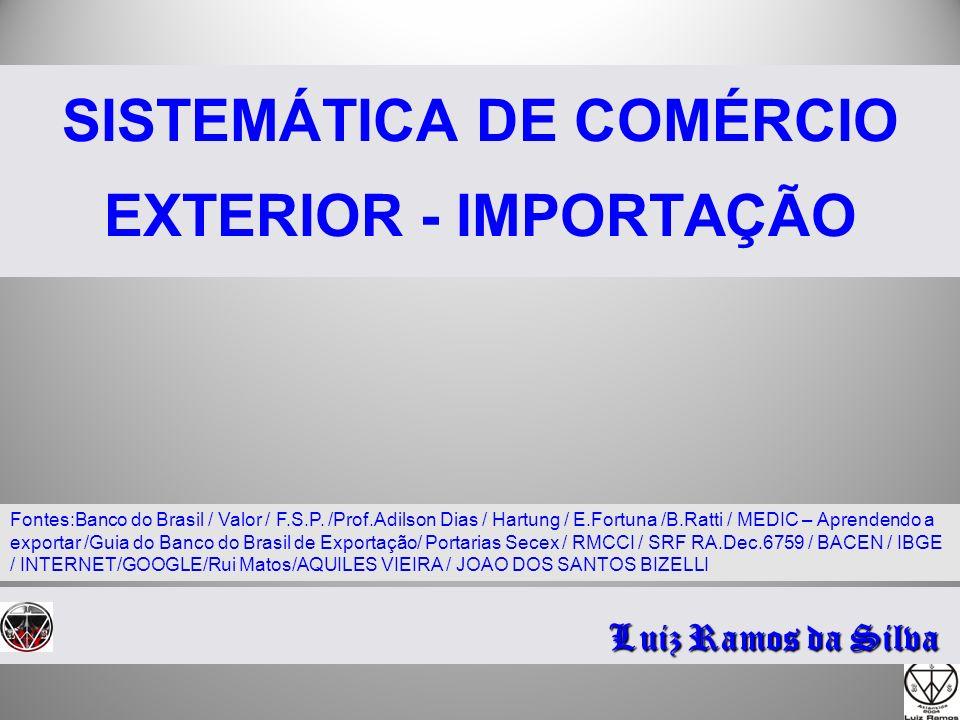 SISTEMÁTICA DE COMÉRCIO EXTERIOR - IMPORTAÇÃO Luiz Ramos da Silva Fontes:Banco do Brasil / Valor / F.S.P. /Prof.Adilson Dias / Hartung / E.Fortuna /B.