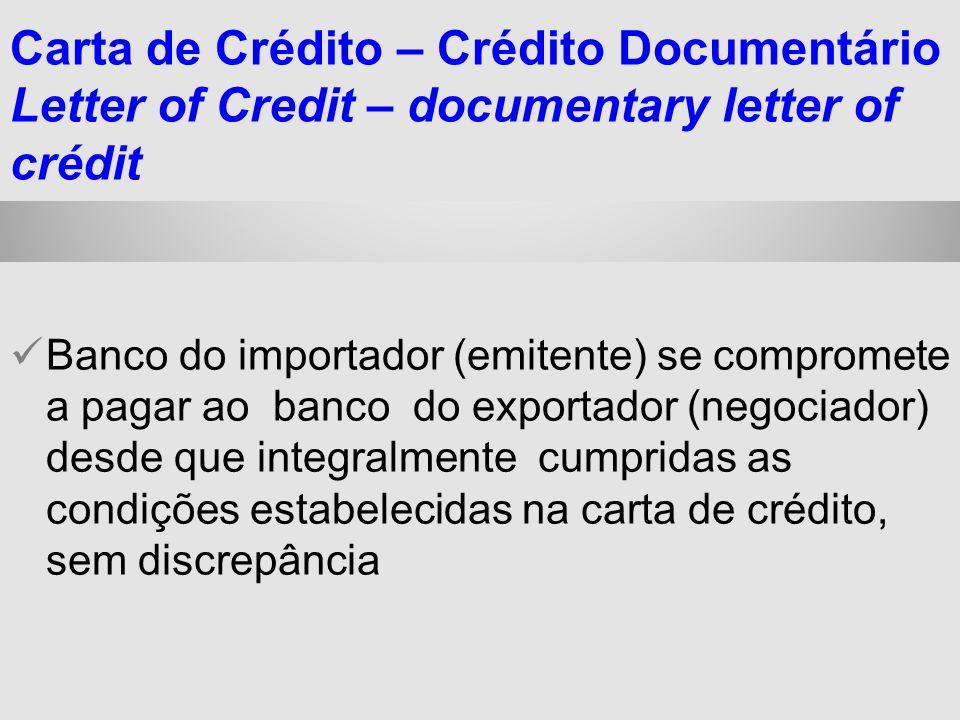 25/1/2014 Banco do importador (emitente) se compromete a pagar ao banco do exportador (negociador) desde que integralmente cumpridas as condições esta