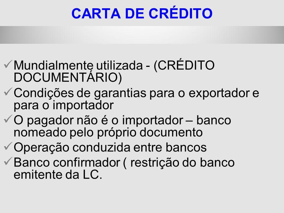 25/1/2014 CARTA DE CRÉDITO Mundialmente utilizada - (CRÉDITO DOCUMENTÁRIO) Condições de garantias para o exportador e para o importador O pagador não