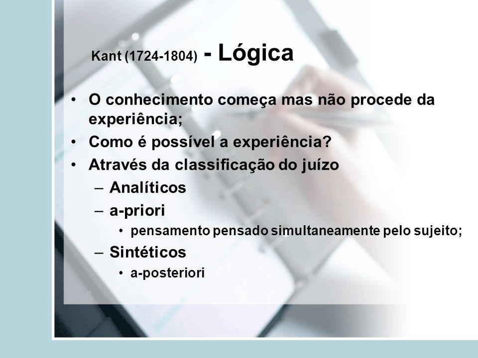 Kant (1724-1804) - Lógica O conhecimento começa mas não procede da experiência; Como é possível a experiência.