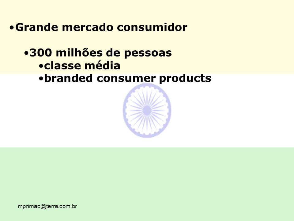 mprimac@terra.com.br Grande mercado consumidor 300 milhões de pessoas classe média branded consumer products