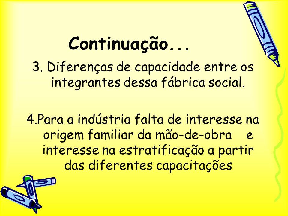Continuação... 3. Diferenças de capacidade entre os integrantes dessa fábrica social. 4.Para a indústria falta de interesse na origem familiar da mão-