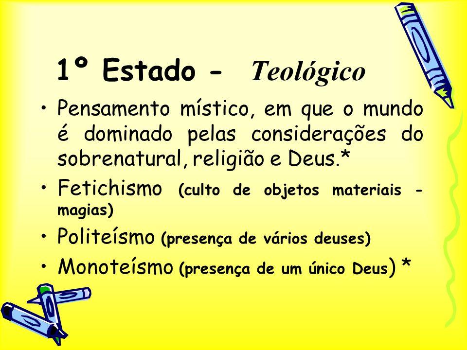 1º Estado - Teológico Pensamento místico, em que o mundo é dominado pelas considerações do sobrenatural, religião e Deus.* Fetichismo (culto de objeto